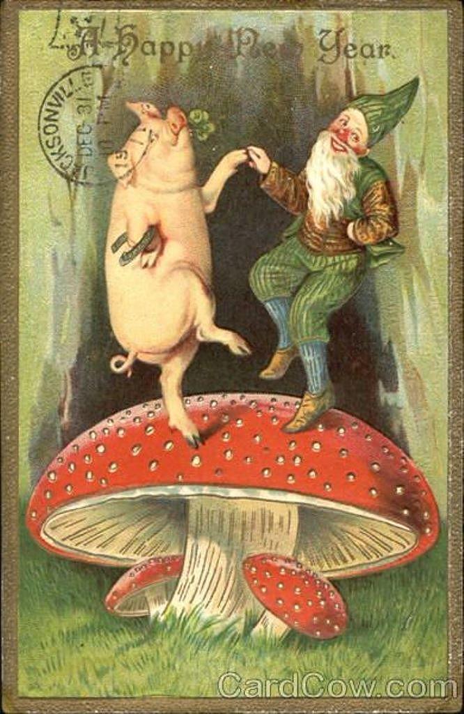 Анимации, грибы старинные открытки