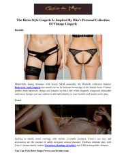 The Retro Style Lingerie Is Inspired By Dita's Personal Collection Of Vintage Lingerie.pdf